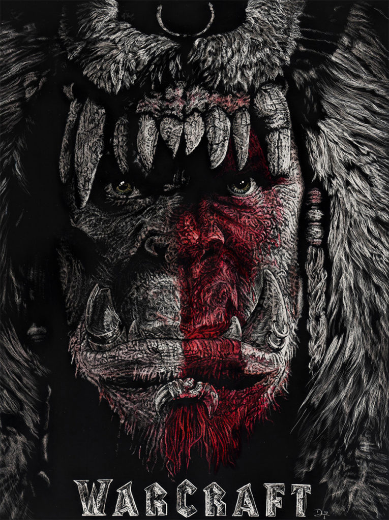 Warcraft movie fanart on scratchboard. Warcraft is copyrighted to Blizzard Entertainment Inc.